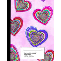 Composition Notebook Wide Ruled 7.44 X 9.69 Inches 100 Sheets / 200 Pages: Groovy Valentine Hearts – Mindhandstudios